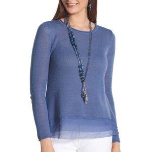 Chico's Tiered Hem Tina Sweater Aqua Blue Medium